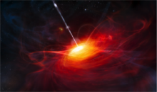 Artist's rendering of an accreting black hole
